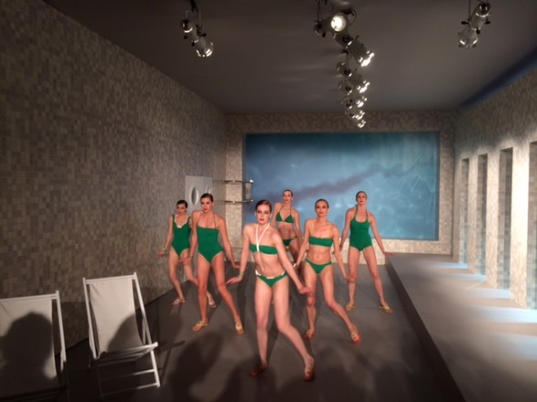 Hermes swimsuits at an indoor beach, photo by Sean Rocha