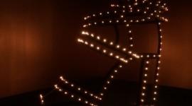 An Hermes shoe in lights, photo by Sean Rocha